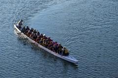 Dragon boat turning - stock photo