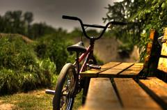 BMX bike at the trails - stock photo
