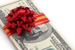 Money on gift Stock Photos