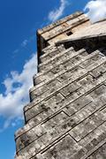 Angled View of Kukulkan Pyramid at Chichen Itza - stock photo