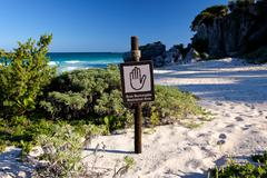 Bilingual Spanish English Sign Restricted Area at Beach Landscape Stock Photos