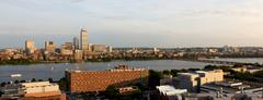 Cambridge and Boston facing one another Across the Charles Stock Photos
