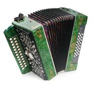 Green accordion, isolated on white background Stock Photos
