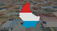 Luxembourg map flag with scrolling Euros animation Stock Footage