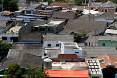 Chaotic Jumble of Caribbean Roofs Stock Photos
