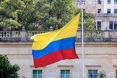 Colombian Flag at Casa Narino Presidential Palace Stock Photos