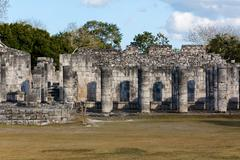 Mayan Colonnades at Chichen Itza Stock Photos