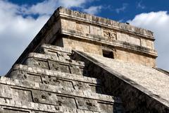 Detail of Top of Kukulkan Pyramid at Chichen Itza - stock photo