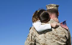 Military Father and Daughter Reunited Stock Photos