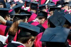 Harvard University Graduates on Commencement Day Stock Photos