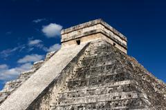 Kukulkan Pyramid at Chichen Itza - stock photo