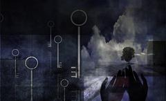 Surreal mysterious composition Stock Illustration