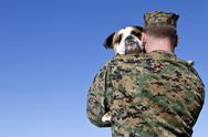 Stock Photo of Military Man Hugs Dog