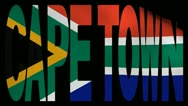 Cape Town text with fluttering flag animation Stock Footage