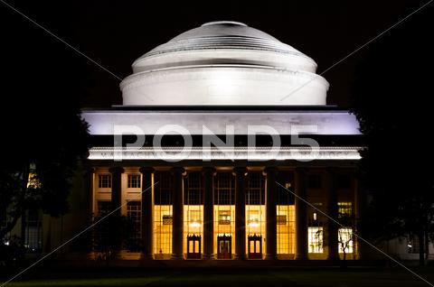 Stock photo of MIT Great Dome at Night