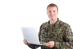 Soldier With A Laptop Stock Photos
