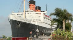 Queen Mary moored in Long Beach Stock Footage