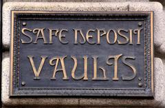 Safe Deposit Vaults Sign Stock Photos