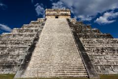 Up Kukulkan Pyramid Stairs Landscape - stock photo