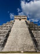 Up Kukulkan Pyramid Stairs Portrait - stock photo