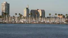 Long Beach Skyline and Marina Stock Footage