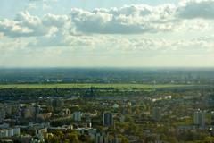 View of Berlin with the former Airport Tempelhof - stock photo