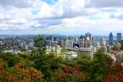 View of Montreal from Mount Royal - stock photo