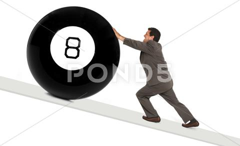 Stock photo of behind the 8 ball