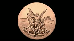 Olympic Bronze Medal rotates with alpha matte (channel) Stock Footage