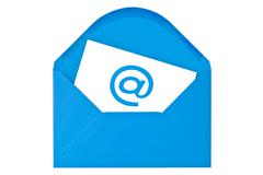 Stock Photo of blue envelope with email symbol
