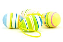 Stock Photo of coclor easter eggs on white background