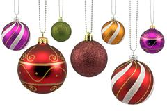 Colorful ornate christmas baubles Stock Photos
