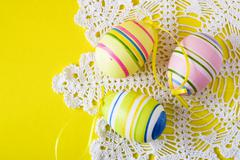 Stock Photo of colorful easter eggs on white serviette