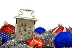 Stock Photo of old clock and christmas decorations