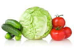 Stock Photo of fresh vegetables on white background