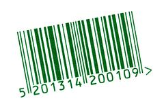Green barcode isolated on white Stock Photos