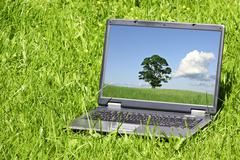 Stock Photo of landscape  on laptop screen