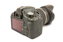 rear view of photocamera - stock photo