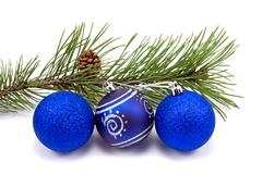 pine branch and christmas baubles - stock photo