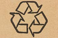 Stock Photo of recycle symbol on a cardboard