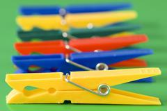 row of colorful clothespins - stock photo