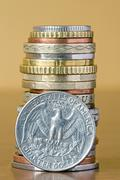 coins stack with quarter dollar - stock photo
