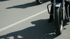 Bikers motorcycle group in the street Stock Footage