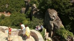 Roussanou monastery view (entrance plato) Stock Footage