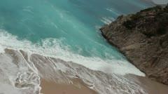 Stormy bay beach raining Stock Footage