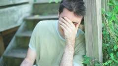 Depressed sad crying man cry Stock Footage