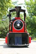 Red and black locomotive Stock Photos
