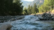 Mountain river flowing fast with mountains on the background Stock Footage