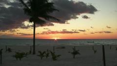 Sunrise over Caribbean see at a beach in Yucatan peninsula Stock Footage