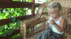 Child Drinking Water from Glass, Little Girl Resting, Children Stock Footage